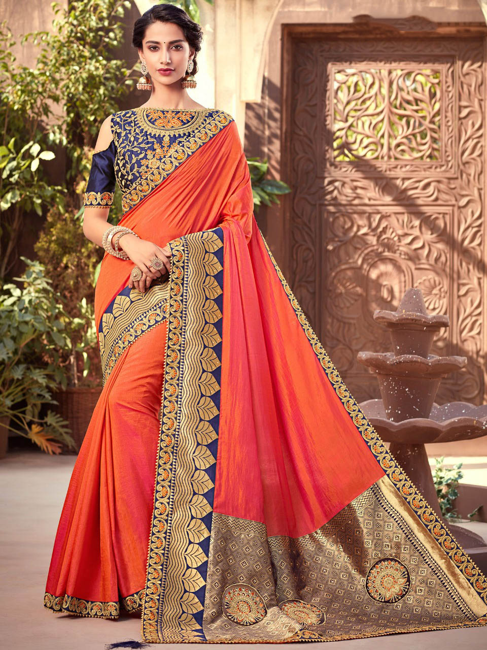 PARTY WEAR INDIAN SILK SAREE - BT-SR-40023 - $104.99
