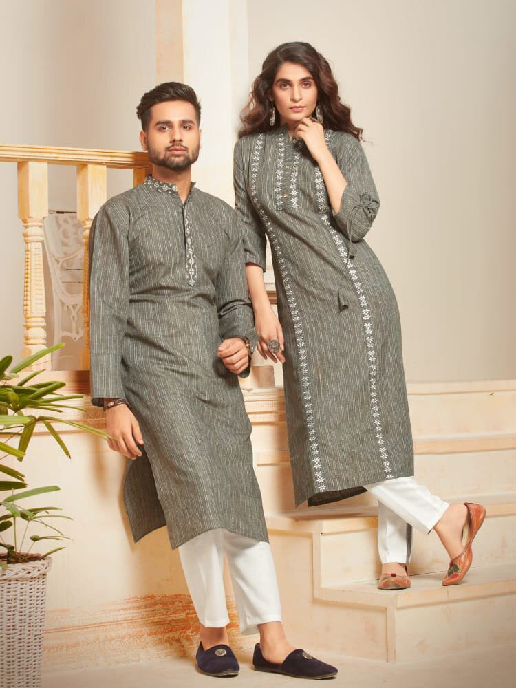 DESIGNER INDIAN KURTA PAJAMA-BT-KP-600035-L - $49.99