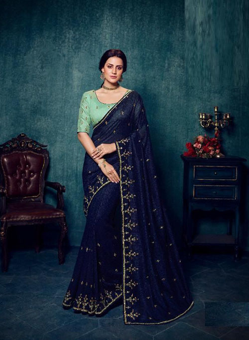 PARTY WEAR INDIAN SILK SAREE - BT-SR-40186