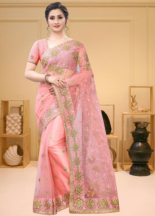 PARTY WEAR INDIAN NET SAREE - BT-SR-40407