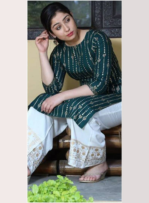 DESIGNER INDIAN KURTI - BT-K-R-90125-G-L