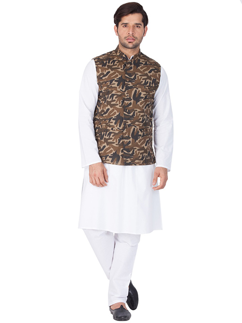 DESIGNER INDIAN KURTA PAJAMA JACKET-600019-M