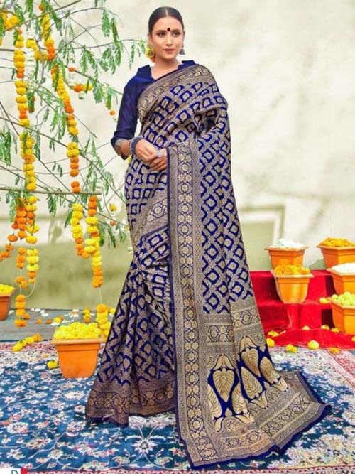 PARTY WEAR INDIAN SILK SAREE - BT-SR-40565-D